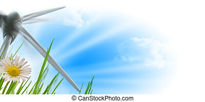 wind turbine, sun and flower