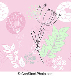 Pink seamless pattern with flowers