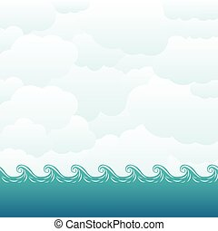 Beautiful sea and sky background EPS 10 vector illustration,...