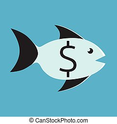 Fish with dollar sign - Black and blue fish with dollar sign...