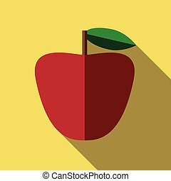 Red apple, flat style - Beautiful red apple with green leaf...