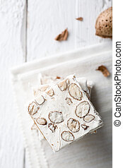 White Nougat - Slices of White Nougat with Almonds, a...