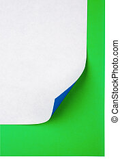 Colorful note paper with curl and coin on isolated white...