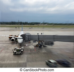 Airplane in airport Blur motion effect