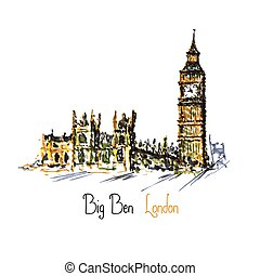 Watercolor Clock tower Big Ben Palace of Westminster, London...