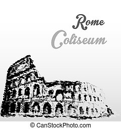 Colosseum, hand drawing watercolor style,vector illustration