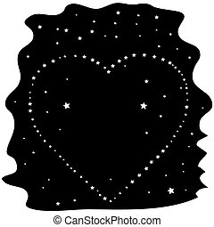 Heart of the stars on a black night sky, vector