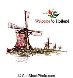 Watercolor Netherlands background. Hand drawn vintage illustration with windmill.