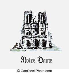 Notre Dame de Paris Cathedral, France Watercolor hand...