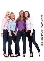 group of girlfriends - Group of young girlfriends having a...