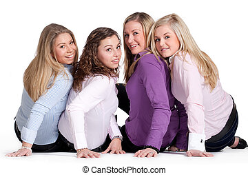 Happy girly group - Group of young girlfriends having a...