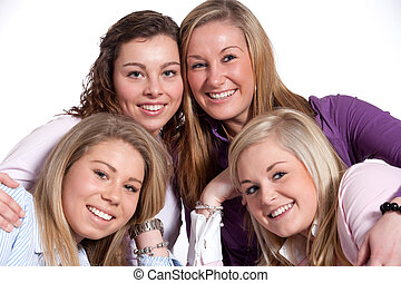Grouphug - Group of young girlfriends having a happy time...