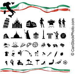 ITALIAN symbol set with flag isolated on white