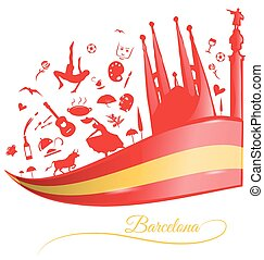 barcelona background with flag and symbol set