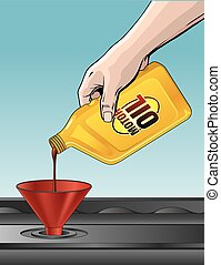 Pouring Motor Oil is an illustration of someone pouring oil...