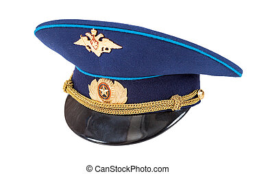 Russian military officer cap Air Force isolated on white...
