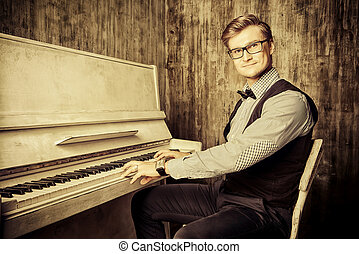 artist musician - Pianist plays the piano. Art, musical...