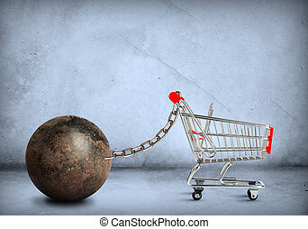 Iron ball with shopping cart - Iron ball with empty shopping...