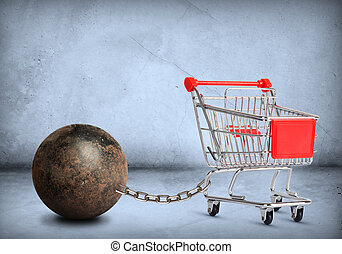 Iron ball with shopping cart - Iron ball with chain and...