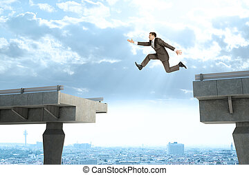 Image of young businessman jumping over gap of broken bridge
