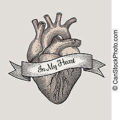 Engraving vector heart