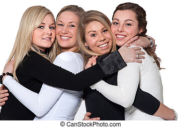 Happy 4 woman hug - Group of young girlfriends having a...
