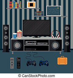 Vector illustration apartment with a home cinema