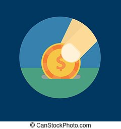 Vector illustration of a coin in his hand
