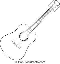 Vector illustration of black outlines guitar