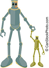 Father and child robots holding hands - Dad with kid joined...