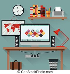 Vector illustration of office has a computer