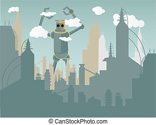 Giant Robot attacking city