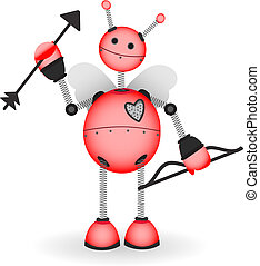 Cupid Robot hold bow arrow vector illustration - Red shiny...