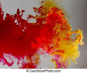 Acrylic colors and ink in water Abstract background