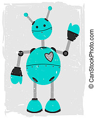 Adorable Robot Waving - Accented by grunge and rough border