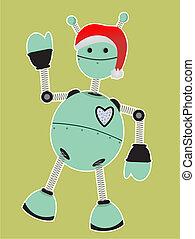 Robot wearing Santa Hat Waving