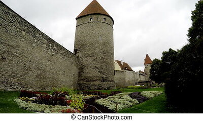 Medieval towers - part of the city wall. Tallinn, Estonia -...
