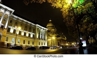 night street in the downtown and St Isaacs Isaakievsky...