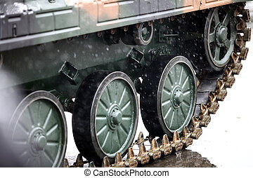 Tank caterpillar track - Color detail image of a tank's...