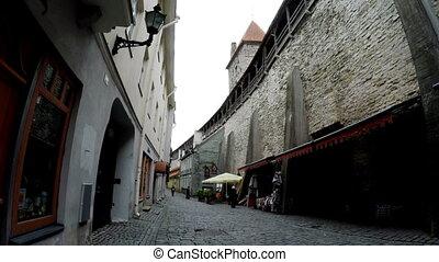 Tourists on the street in Old city on September 5, 2015 in Tallinn, Estonia.