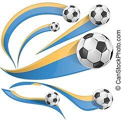 ukraine flag set with soccer ball