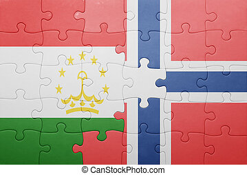 puzzle with the national flag of norway and tajikistan...
