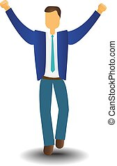 Business Man Icon Excited Hold Hands Up Raised Arms,...