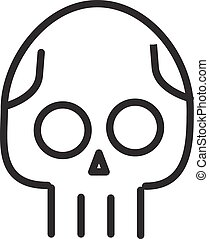 Skull line icon Danger concept illustration Line style -...
