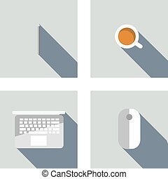 Set of  flat icons: pen, laptop, mouse, coffee. Flat design.