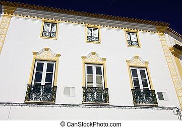 evora - decorated facade in the city of Evora, Portugal