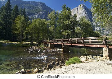 Yosemite - wood bridge in Yosemite national Park, Usa
