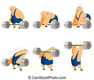 Weightlifter with barbell - Vector illustration of a...