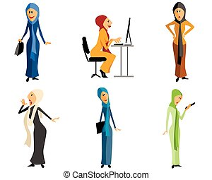 Modern muslim girls - Vector illustration of a six modern...