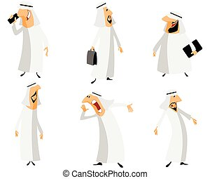 Six arabs set - Vector illustration of a six arabs set
